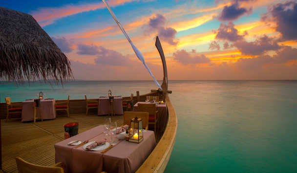Milaidhoo Island: Sunset at Ba'theli by the Reef Restaurant